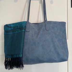 Saks Fifth Avenue Smokey Blue Tote Bag